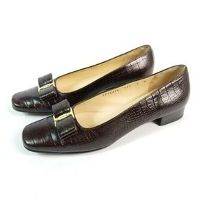 Salvatore Ferragamo Vara Bow Brown Croc Heels
